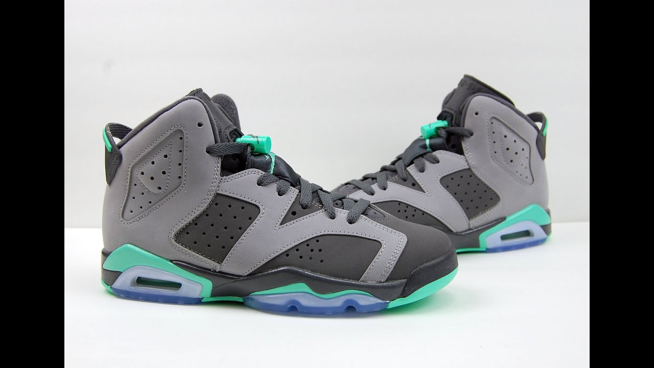 Air jordan 6 gs green glow grey review on feet youtube sciox Choice Image