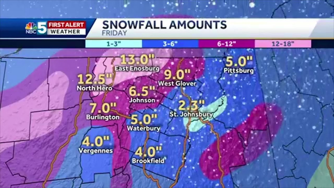 Town By Town Snowfall Totals For New York Vermont New Hampshire