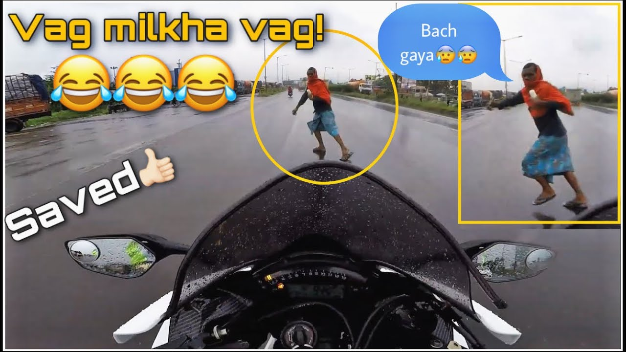 Vag Milkha Vag ! 😂 Saved by inch 🤦🏻‍♂️ Idiot Man crossing road!