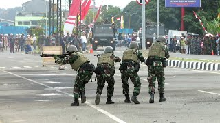 Demo Latihan Tempur dan Pameran Alutsista TNI AL Pasukan Marinir (Pasmar)  3 di Kota Sorong Papua