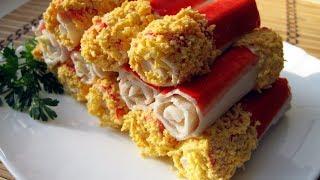 Фаршированные крабовые палочки / Очень вкусная и быстрая закуска