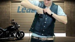 Xelement Men's Six Button Leather Vest at LeatherUp