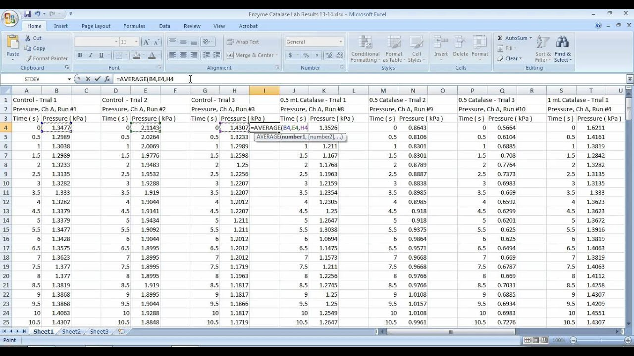 Using Excel To Find The Average Of Multiple Data Trials