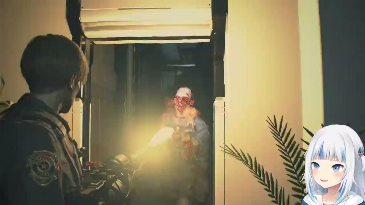 【Gawr Gura】忘了自己在打恐怖遊戲,被嚇到敲桌的鯊魚【中文字幕】【HololiveEN】