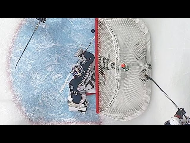 Korpisalo kicks puck off line at last second