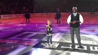 7 yr old Gavin Stevens sings National Anthem at LA KINGS on 3/31/16