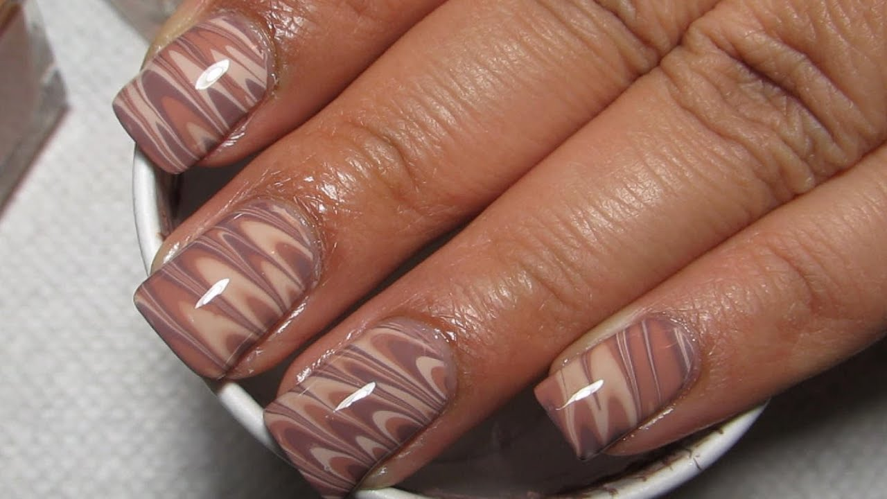 Work Appropriate Water Marble on Short Nails with Neutral Colors ...