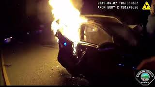 Four men saved from car fire