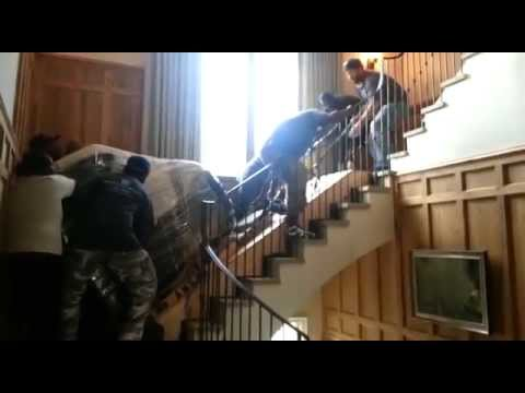 Montgomery Movers Moving A Baby Grand Piano Upstairs Youtube