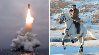 North Korea state TV broadcasts Kim Jong-un riding white horse into the mountains