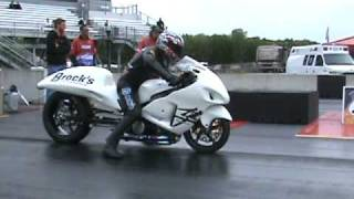 7 second all motor Brocks Hayabusa grudge bike drag racing AMA 2010