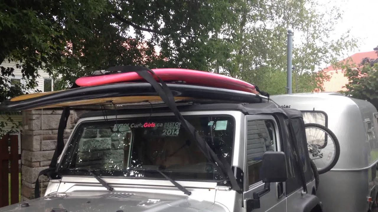 Easy Modify Jeep Wrangler To Hold SUP Or Kayak With Soft Top Or Bikini On  Instead Of Roll Bars.