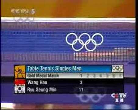 2004 Olympics Final Wang Hao - Ryu Seung Min pt 1/5