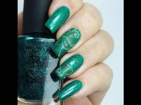 St Patricks Day Nail Art Designs Green Four Leaf Clover Nails