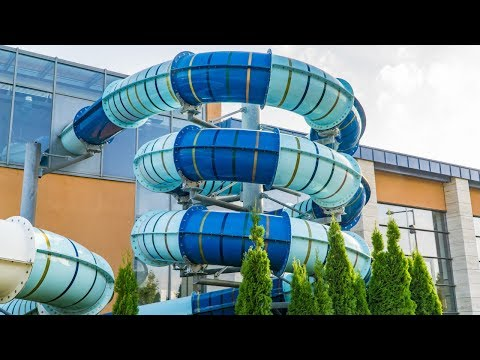 Spa and Wellness Center Sárvár - Spiral Waterslide | Indoor Slide Onride POV