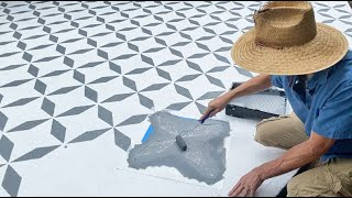 How To Stencil Tiles On Cement Outdoor Patio