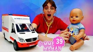 Comme maman - Vidéo pour enfants de bébé born. Nouvel épisode 39 - Emilie a une fièvre