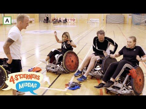 4-stjerners Middag   Maria Stavang, Adam Schjølberg og Jorun Stiansen får prøve rullestolrugby
