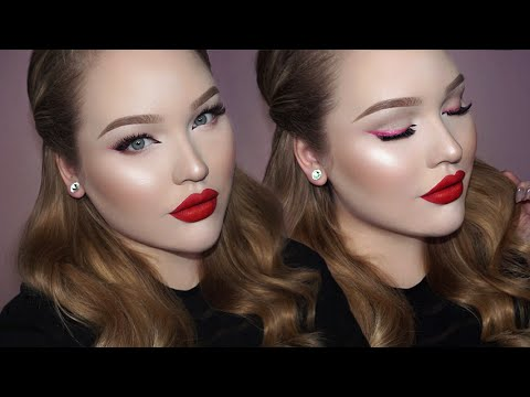 Soft Valentine's Day Makeup - Pink Liner & Matte Red Lips