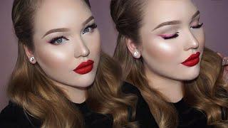 Soft Valentine's Day Makeup - Pink Liner & Matte Red Lips
