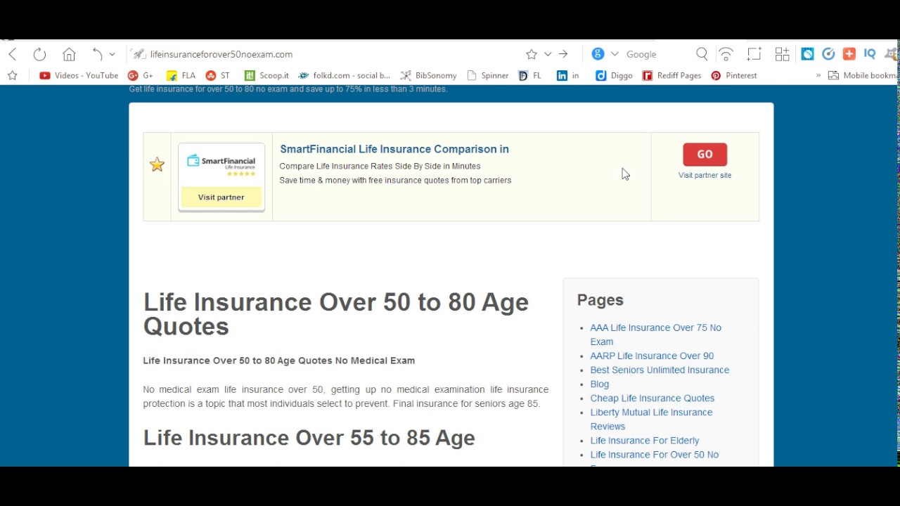 Life Insurance Quotes For Seniors Over 80 Life Insurance For Seniors Over 70 Or 75 Years  Youtube