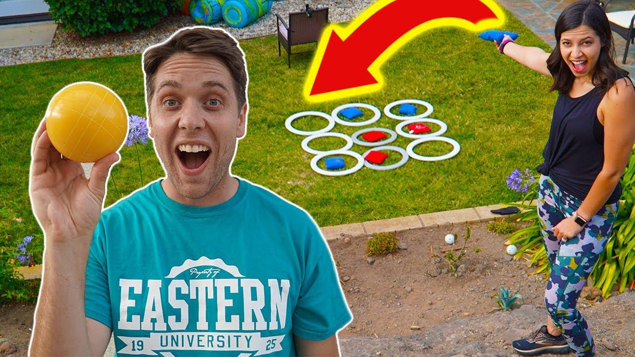 BACKYARD TRICK SHOT OLYMPICS vs JOSH HORTON! *Cornhole, Giant Tic Toe, Bocce Ball*
