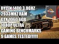 Ryzen 5 1400 + GTX 1060 6GB - 1080P Ultra Gaming - 9 Games Tested