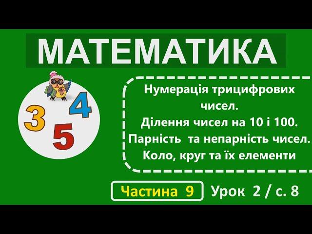 2 клас. Математика. Нумерація трицифрових чисел. Множення чисел на 10 і 100. Парність та непарність чисел. Коло, круг та їх елементи.