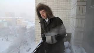 Instant vapor - Boiling water freezes instantly in Siberia
