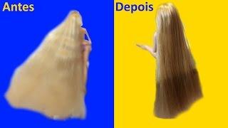 Como alisar cabelo de Boneca Rapunzel - super transformação!