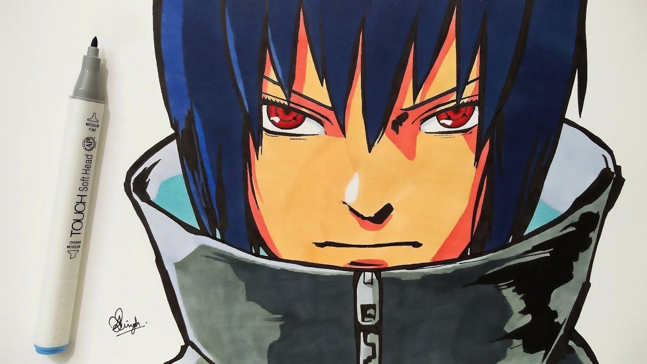 Drawing Sasuke - Naruto Shippuden - YouTube