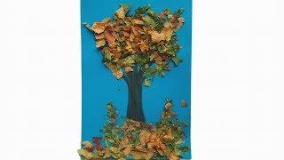 """Аппликация из листьев """"Осеннее дерево"""". Как сделать легкую поделку на тему осень в садик."""