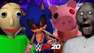 BALDI vs GRANNY vs PIGGY vs SONIC.EXE | WWE 2K20 Gameplay