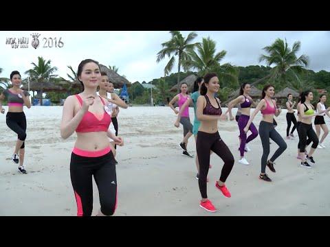 Thí sinh Hoa Hậu Việt Nam 2016 khỏe khoắn luyện tập thể dục trên bãi biển [Hoa Hậu Việt Nam 2016]