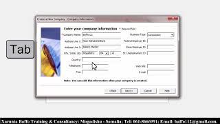 Peachtree Accounting #2 Erstellen Sie ein Neues Profil des Unternehmens Af-Somali