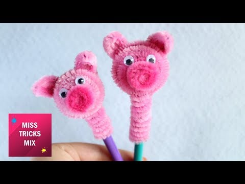 Cute Pipe Cleaner Pig Pencil Topper Step By Step DIY / Pipe Cleaner Crafts.