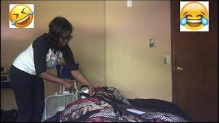 TAPING SLEEPING BOYFRIEND TO THE BED PRANK ( HILARIOUS)