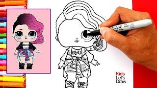 Aprende a dibujar a la ROCKERA (LOL Surprise!) | How to Draw Rocker Doll