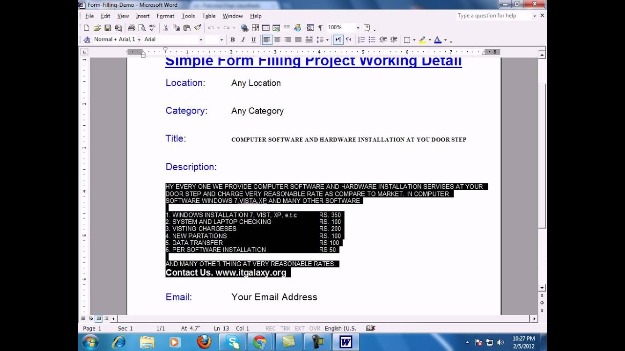 Simple Form Filling Job Demo Video - ITGalaxy.org - YouTube