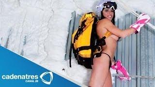 Repeat youtube video Jackie Chamoun, esquiadora libanesa, realiza topless para calendario en Sochi