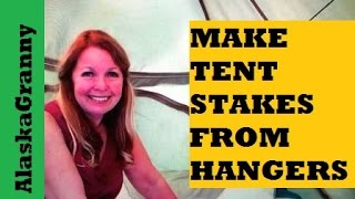 How To Make Tent Stakes From A Wire Coat Hanger