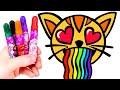 Dibuja y colorea un Gato con arcoiris 🌈😻 Dibujos para colorear para niños.