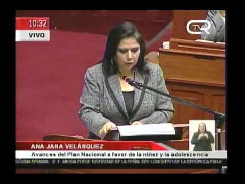 Ana Jara explica politica favor de la niñes
