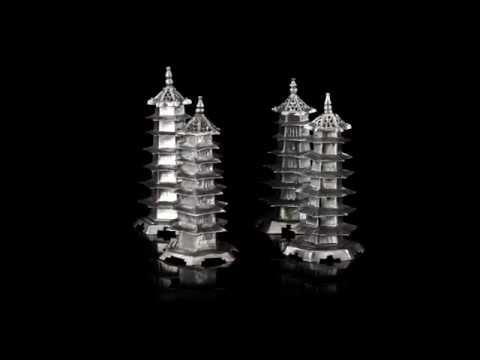 ANTIQUE 19thC CHINESE EXPORT SOLID SILVER PAGODA PEPPER POTS, SHANGHAI c.1880