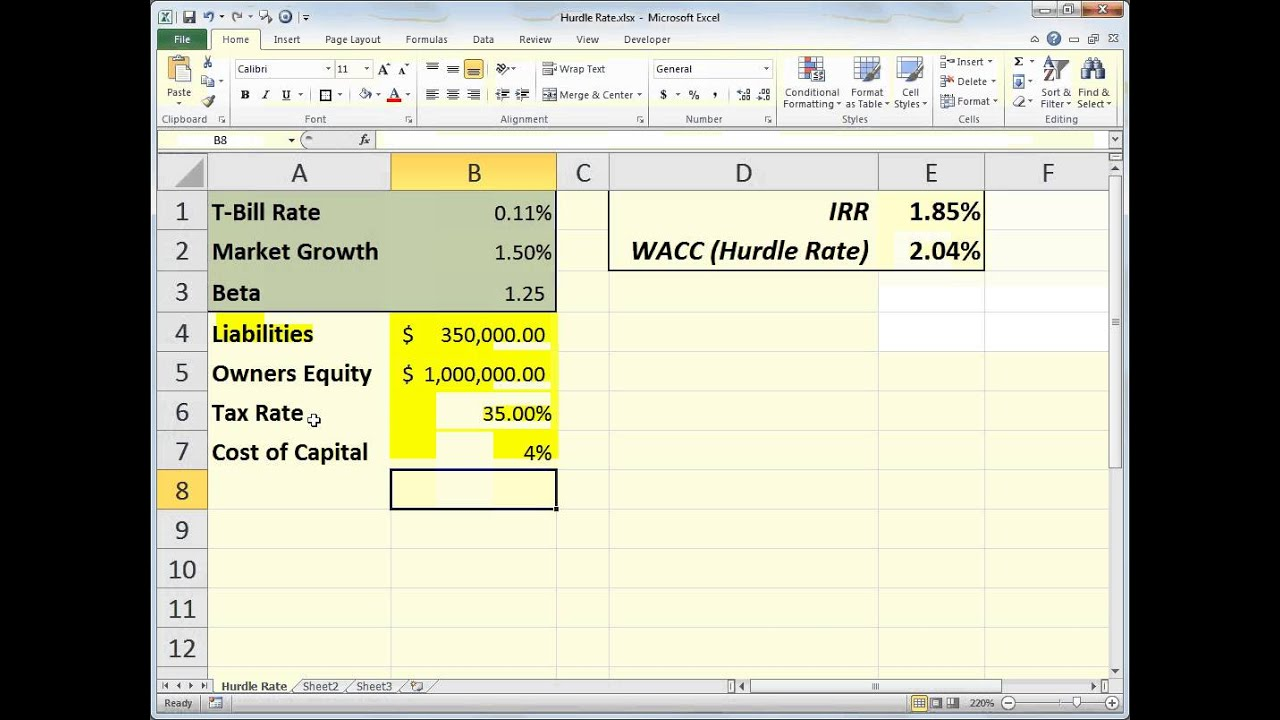 Excel Irr Hurdle Rate Youtube