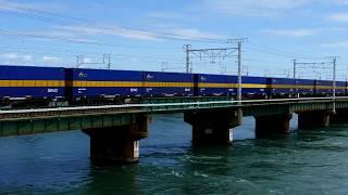 2019/09/14 JR貨物 浜名湖3番鉄橋から午前11時台 カンガルーライナーとトヨタロングパスエクスプレス