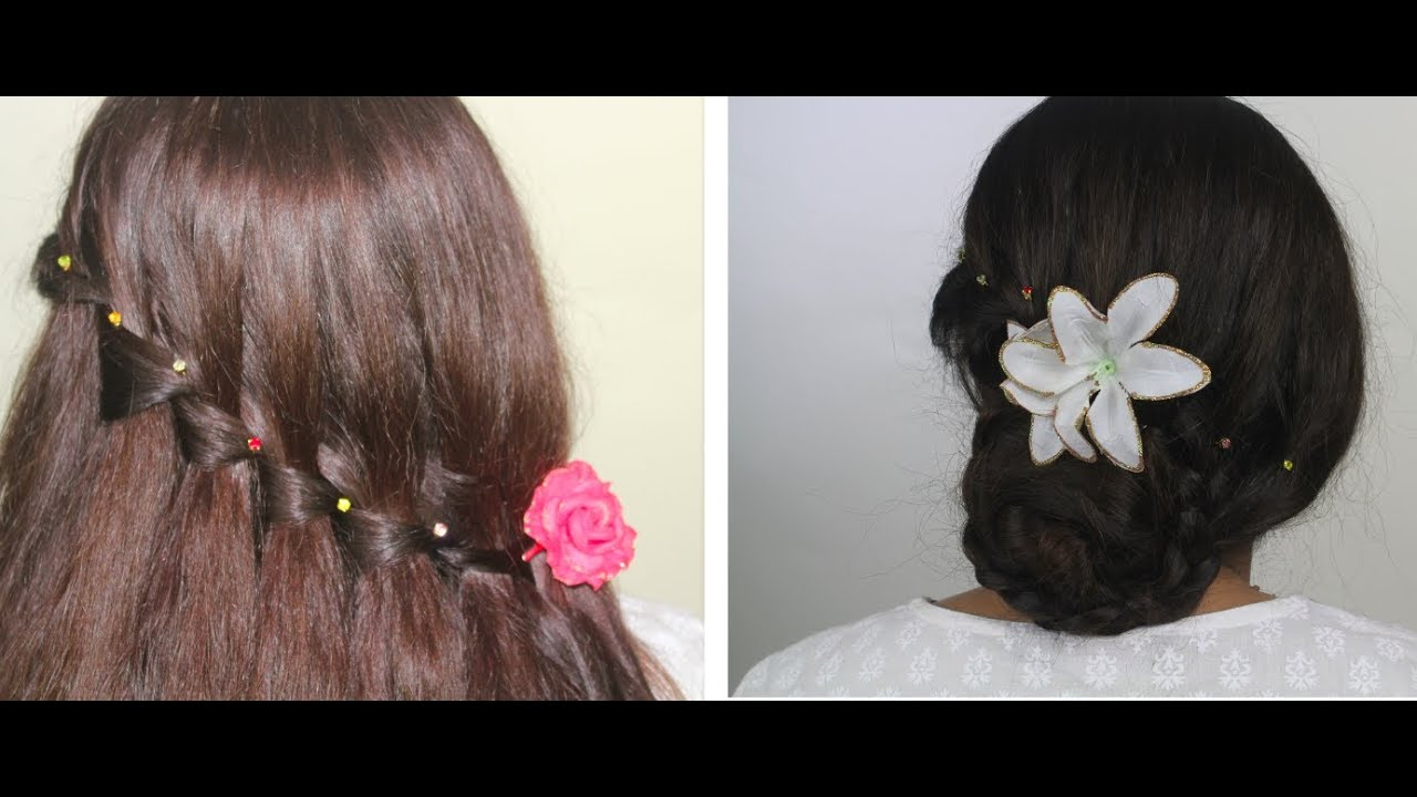 Simple Hair Style For Kids Amazing Party Hairstyles  Waterfall Braid Bun Christmasthanksgiving .