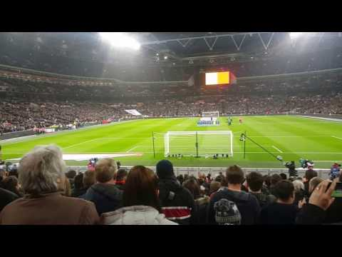 Wembley Stadium stand's in silence for Brussels | England V Holland 2016