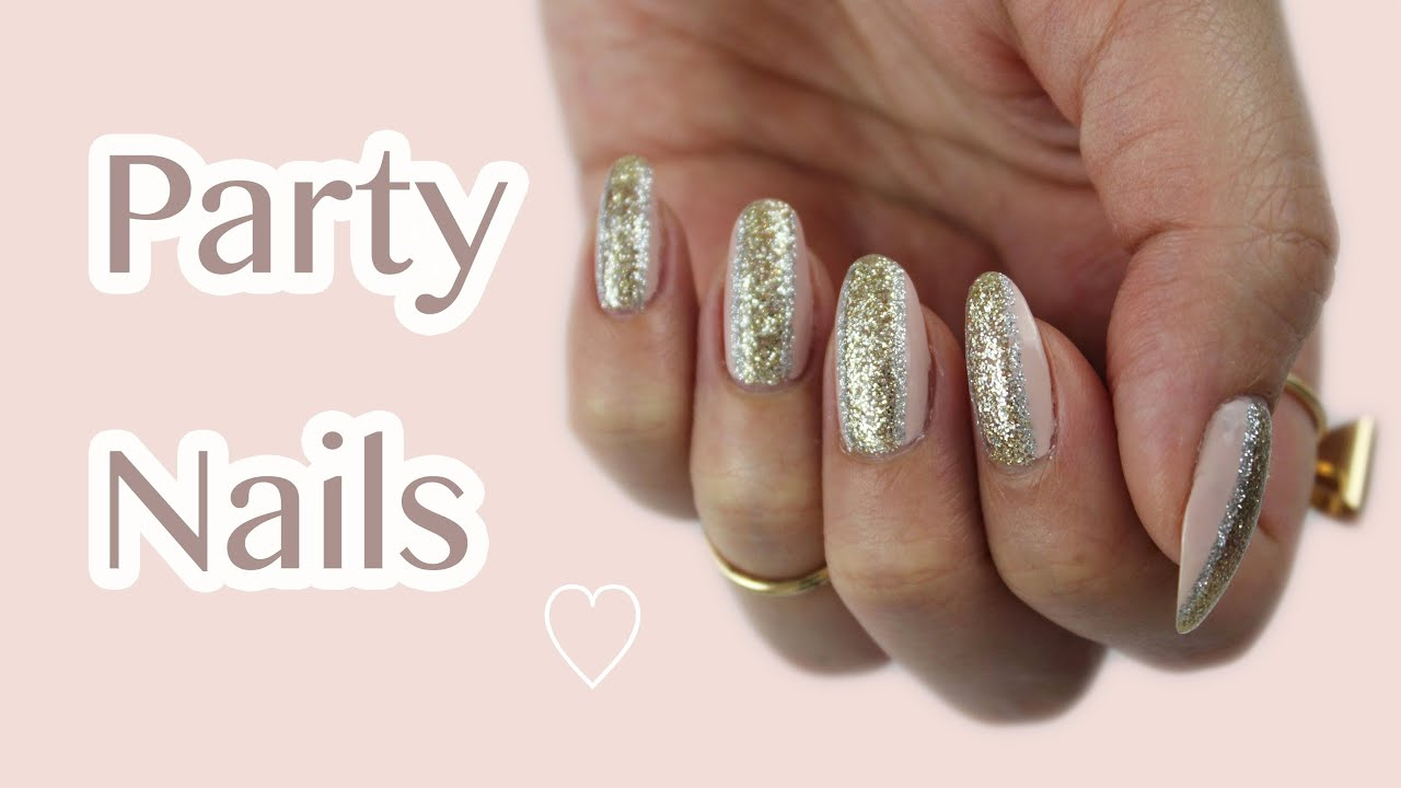 Last Minute New Year\'s Eve Nails | Gold & Silver Glitter - YouTube