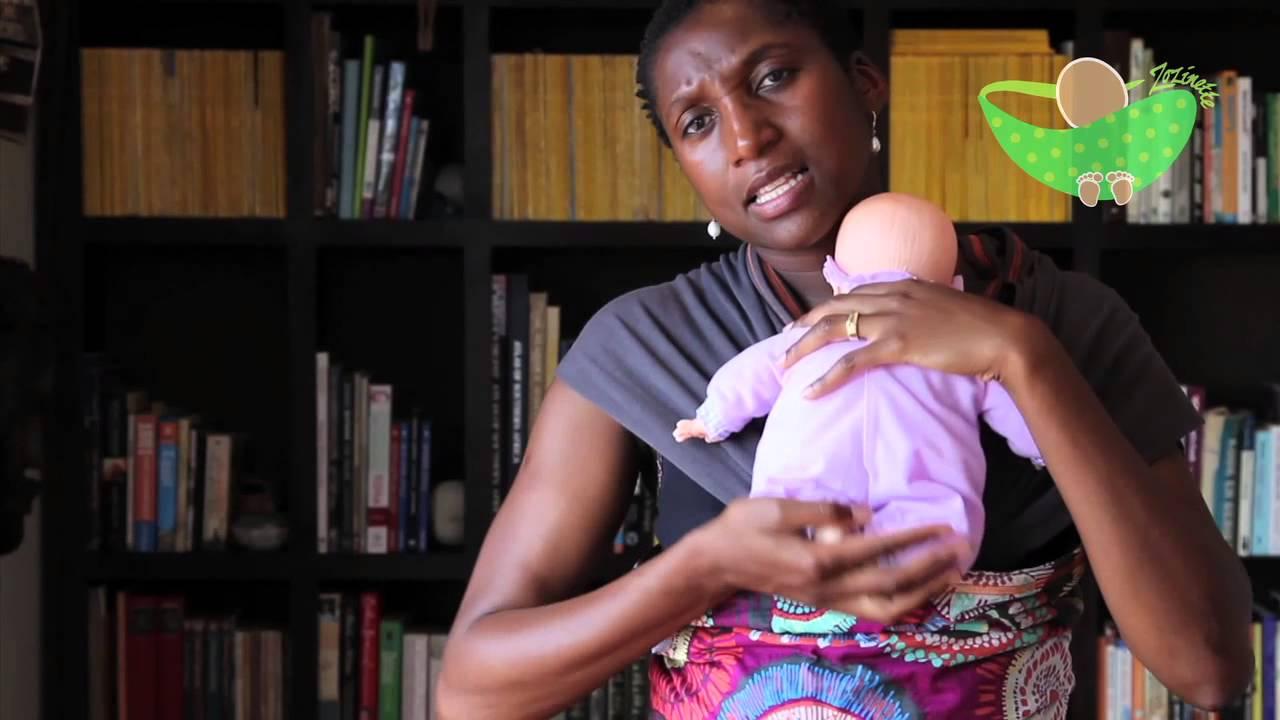 bceeb1cc320 How to carry an  infant  in a Zozinette Baby Wrap - YouTube
